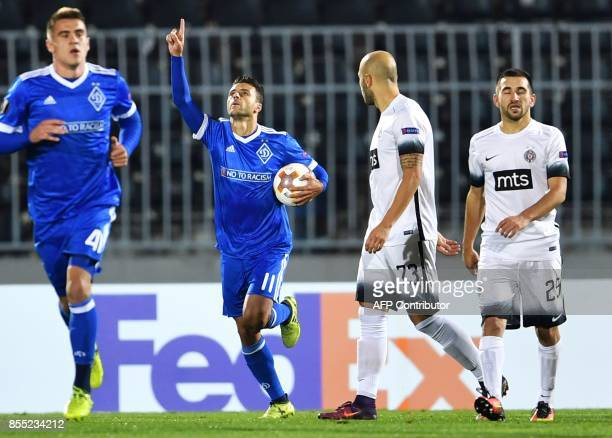 Dynamo Kyiv's Brazilian forward Junior Moraes celebrates after scoring a goal during the UEFA Europa League match between Partizan Belgrade and...