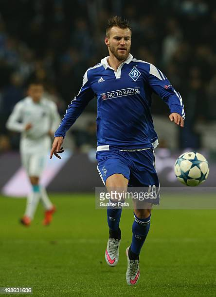 Dynamo KyivÕs forward Andriy Yarmolenko in action during the UEFA Champions League match between FC Porto and FC Dynamo Kyiv at Estadio do Dragao on...