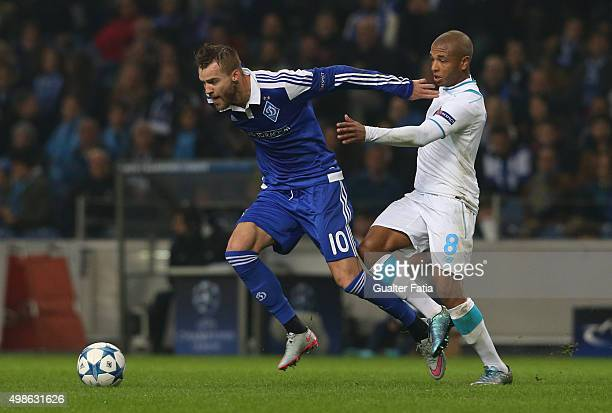 Dynamo KyivÕs forward Andriy Yarmolenko with FC PortoÕs forward Yacine Brahimi in action during the UEFA Champions League match between FC Porto and...