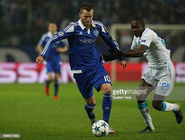 Dynamo KyivÕs forward Andriy Yarmolenko with FC PortoÕs midfielder Gianneli Imbula in action during the UEFA Champions League match between FC Porto...
