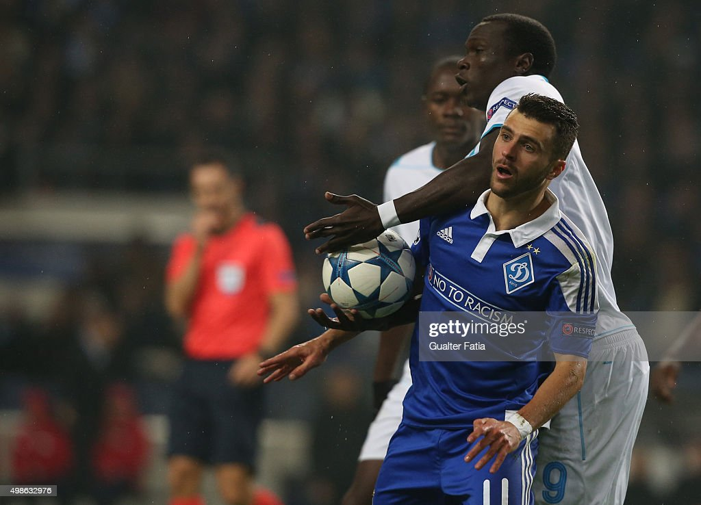 FC Dynamo KyivÕs forward Junior Moraes with FC PortoÕs forward Vincent Aboubakar in action during the UEFA Champions League match between FC Porto and FC Dynamo Kyiv at Estadio do Dragao on November 24, 2015 in Porto, Portugal.
