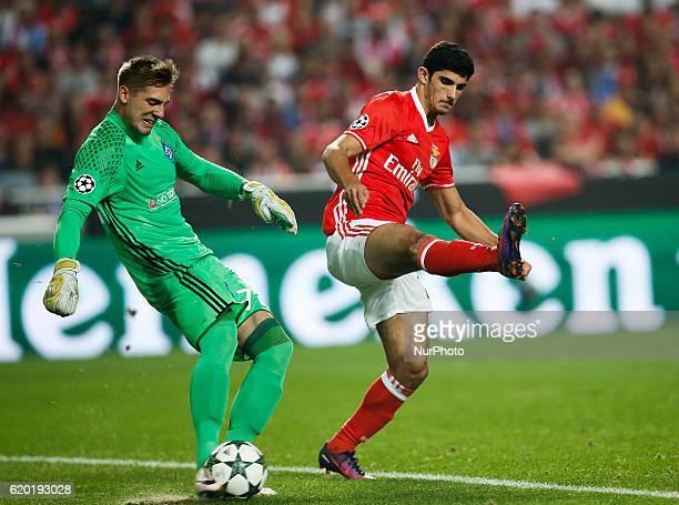 Dynamo Kyiv's goalkeeper Artur Rudko vies for the ball with Benfica's forward Goncalo Guedes during Champions League 2016/17 match between SL Benfica...