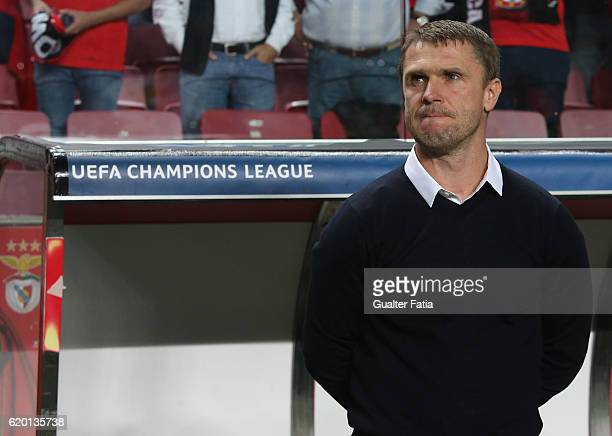 Dynamo Kyiv's head coach Serhiy Rebrov from Ukraine before the start of the UEFA Champions League match between SL Benfica and FC Dynamo Kyiv at...