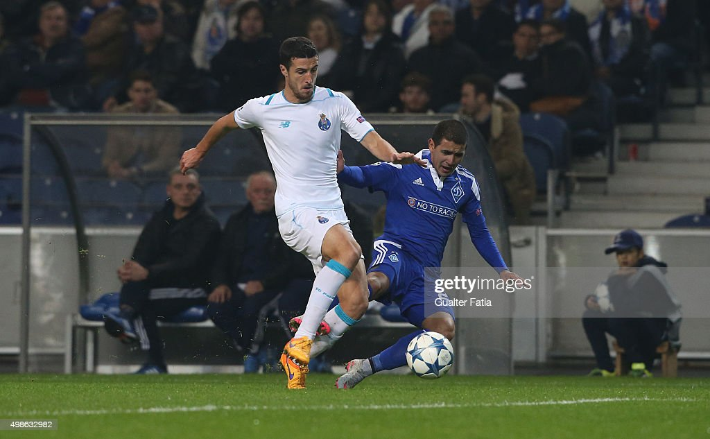 FC Dynamo KyivÕs midfielder Derlis Gonzalez with FC PortoÕs defender Ivan Marcano in action during the UEFA Champions League match between FC Porto and FC Dynamo Kyiv at Estadio do Dragao on November 24, 2015 in Porto, Portugal.