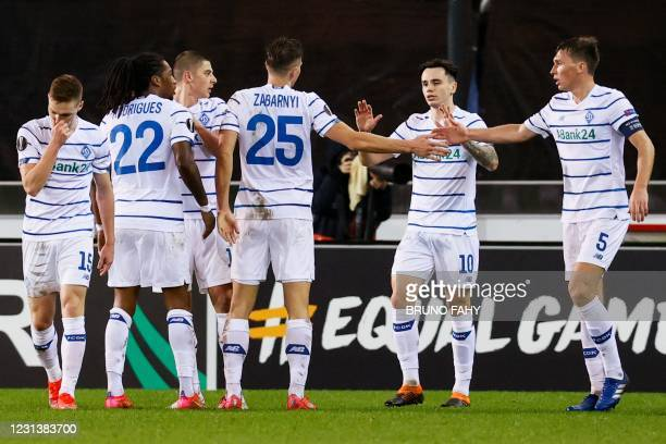 Dynamo Kyiv's team-players celebrate during UEFA Europa League round of 32 football match between Club Brugge KV and FC Dynamo Kyiv, in Bruges, on...