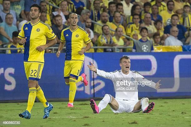 Dynamo Kyiv's Ukrainian forward Andriy Yarmolenko reacts during the UEFA Champions League, group G, football match between Maccabi Tel Aviv and...