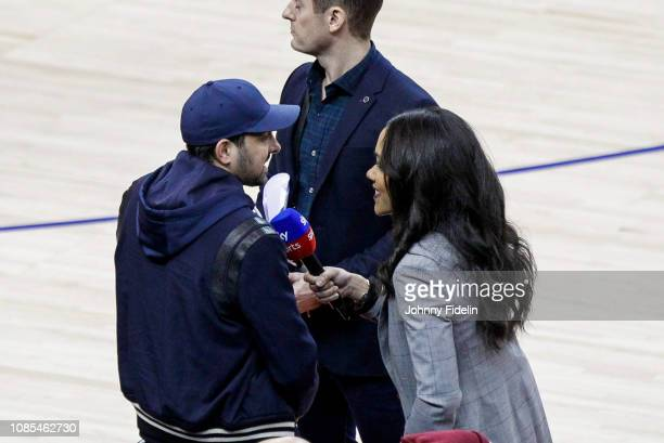 Dynamo magician is interviewed by Benny Bonsu sky sports during the NBA game against Washington Wizards and New York Knicks at The O2 Arena on...