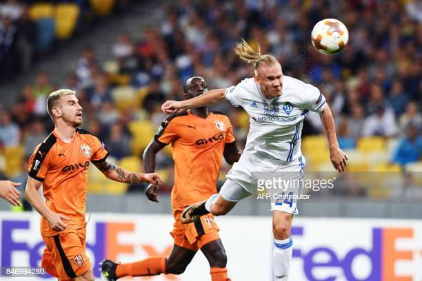 Dynamo's Domagoj Vida vies for the ball with Skenderbeu Marko Radas and Ali Sowe during the UEFA Europa League Group B football match between FC...
