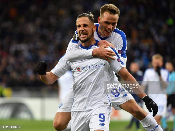 Dynamos Fran Sol celebrates with Dynamos Tomasz Kedziora after scoring a goal during the UEFA Europa League round of 32 second leg football match...