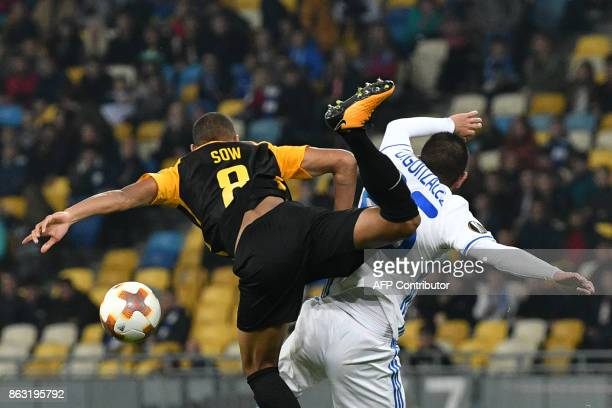 TOPSHOT Dynamo's midfielder Derlis Gonzalez vies with Young Boys midfielder Djibril Sow during the UEFA Europa League Group B football match between...