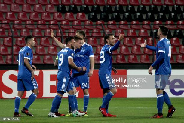 Dynamo's players celebrate after scoring a goal during the UEFA Europa League Group B football match between KF Skenderbeu and FC Dynamo Kiev at the...
