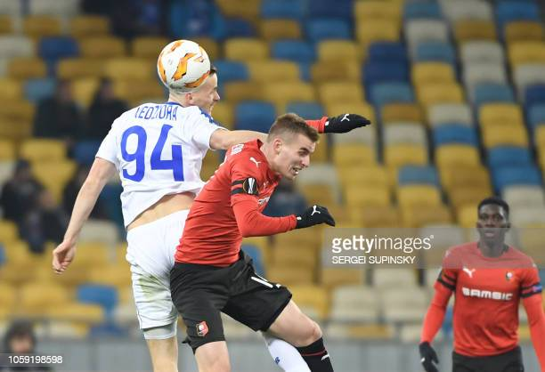 Dynamos Tomasz Kedziora and Rennais Benjamin Bourigeaud vie during UEFA Europa League Group K football match FC Dynamo vs Stade Rennais FC at the...
