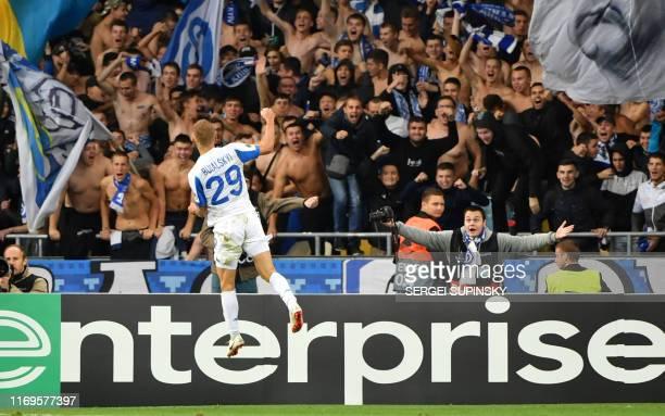 Dynamos Vitaliy Buyalskiy celebrates after scoring a goal during the UEFA Europa League Group B football match between FC Dynamo Kyiv and Malmo FF at...