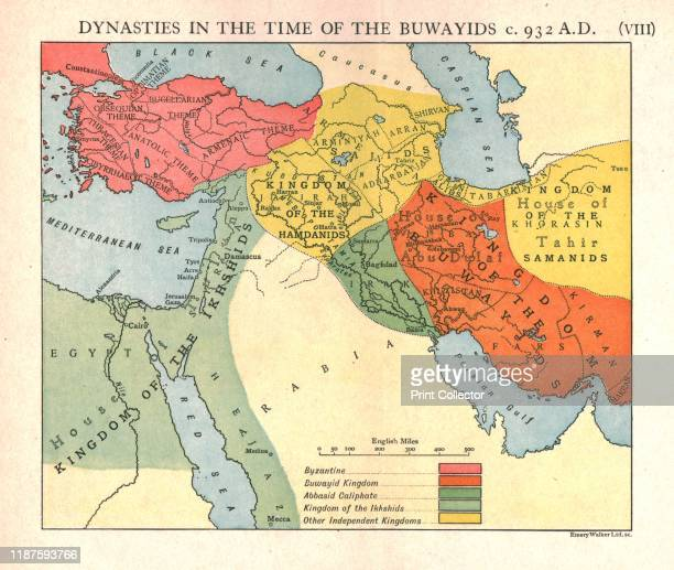 Dynasties in the time of the Buwayids circa 932 AD' circa 1915 Map of civilisations in the Middle East during the 10th century Byzantine Buwayid...