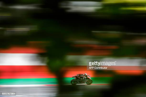 Dynavolt Intact GP's British rider Danny Kent competes during first practice session of the Moto2 Austrian Grand Prix weekend at Red Bull Ring in...