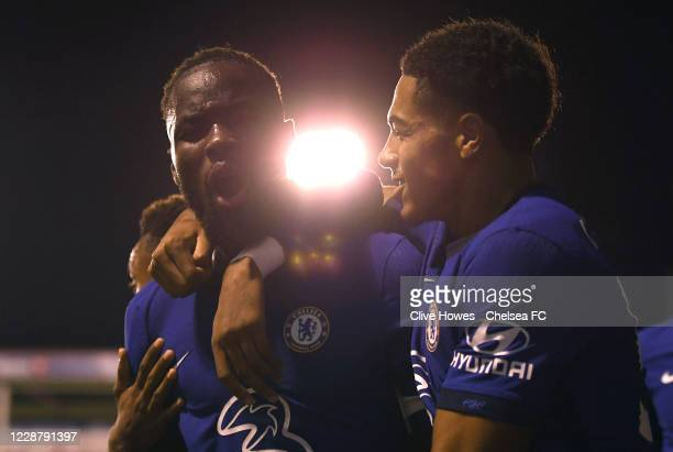 Dynel Simeu of Chelsea celebrates scoring during the Chelsea Development Squad v Walsall EFL Trophy match at Bank's Stadium on September 29 2020 in...