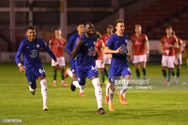 Dynel Simeu of Chelsea celebrates with team mates after winning the shoot out at the end of the Chelsea Development Squad v Walsall EFL Trophy match...
