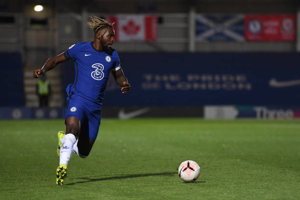 Dynel Simeu of Chelsea runs with the ball during the Chelsea v Southampton Premier League 2 match at Kingsmeadow on April 12, 2021 in Kingston upon...