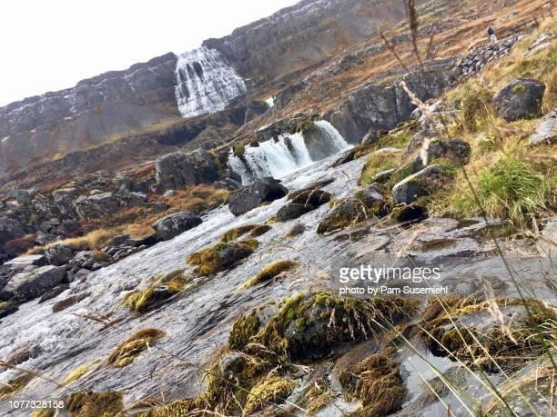 dynjandi waterfall in the rain - inclinando se - fotografias e filmes do acervo