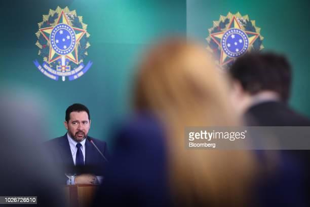 Dyogo Oliveira president of Banco Nacional de Desenvolvimento Economico e Social speaks during a news conference at the Planalto Palace in Brasilia...