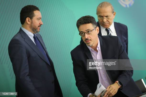 Dyogo Oliveira president of Banco Nacional de Desenvolvimento Economico e Social from left Sergio Sa Leitao Brazil's minister of culture and Eliseu...
