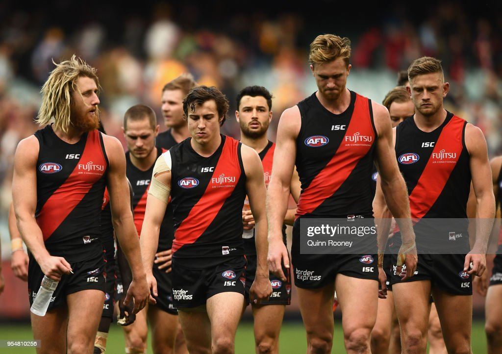 Dyson Heppell and his Bombers team mates look dejected after losing the round seven AFL match between the Essendon Bombers and the Hawthorn Hawks at Melbourne Cricket Ground on May 5, 2018 in Melbourne, Australia.