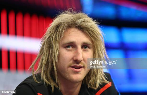 Dyson Heppell captain of the Bombers speaks to the media during a Essendon Bombers AFL media opportunity at Fox Sports Studio on September 5 2017 in...