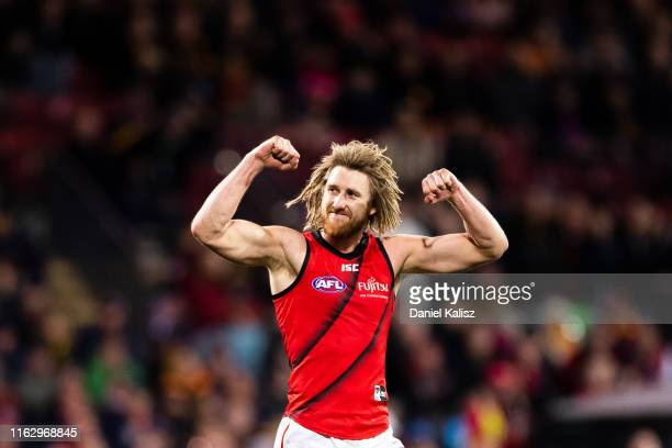 Dyson Heppell of the Bombers celebrates after kicking a goal during the round 18 AFL match between the Adelaide Crows and the Essendon Bombers at...