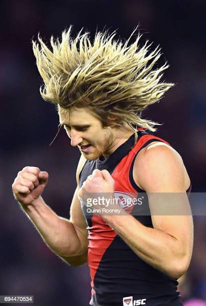 Dyson Heppell of the Bombers celebrates kicking a goal during the round 12 AFL match between the Essendon Bombers and the Port Adelaide Power at...