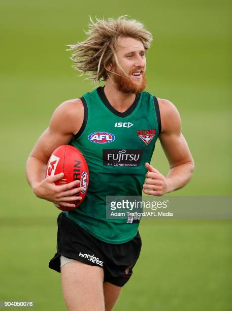 Dyson Heppell of the Bombers in action during the Essendon Bombers training session at The Hangar on January 12 2018 in Melbourne Australia