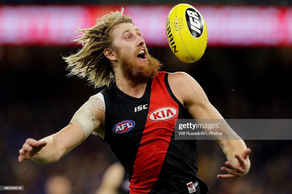 Dyson Heppell of the Bombers in action during the round 14 AFL match between the West Coast Eagles and the Essendon Bombers at Optus Stadium on June 21, 2018 in Perth, Australia.