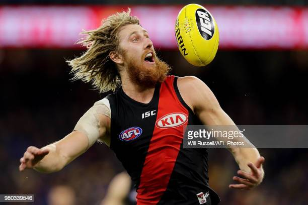 Dyson Heppell of the Bombers in action during the round 14 AFL match between the West Coast Eagles and the Essendon Bombers at Optus Stadium on June...