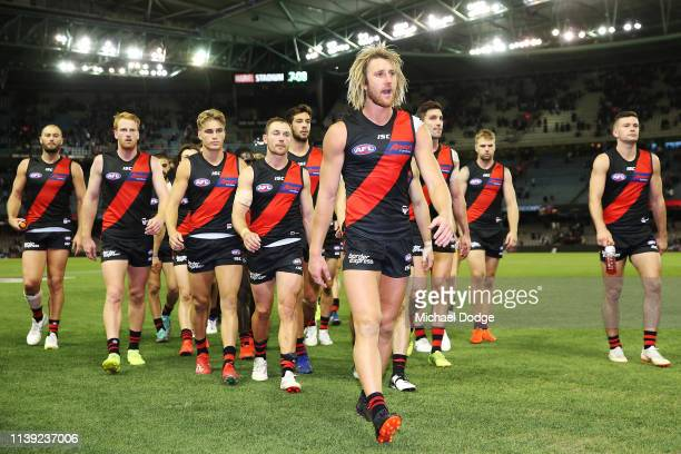 Dyson Heppell of the Bombers looks dejected after defeat during the round two AFL match between the Essendon Bombers and the St Kilda Saints at...