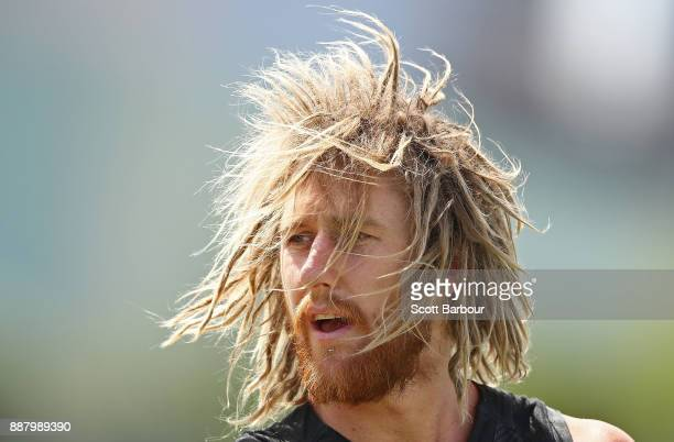 Dyson Heppell of the Bombers looks on during an Essendon Bombers Media Announcement Training Session at Essendon Football Club on December 8 2017 in...
