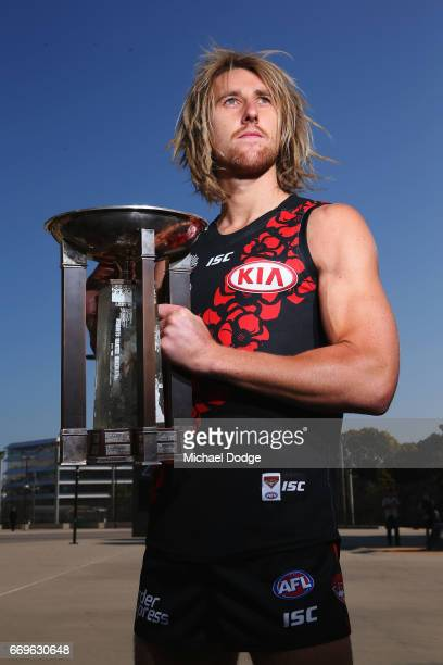 Dyson Heppell of the Bombers poses during an AFL media opportunity for their clash on Anzac Day at Melbourne Cricket Ground on April 18 2017 in...