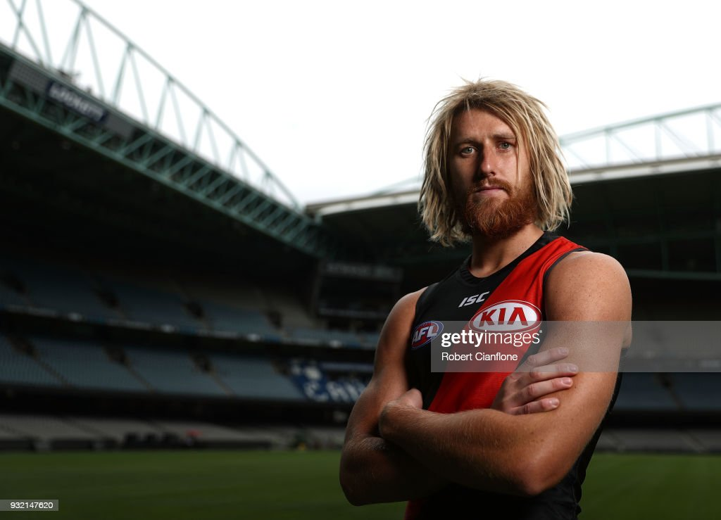 Dyson Heppell of the Bombers poses during the 2018 AFL Captain's Day at Etihad Stadium on March 15, 2018 in Melbourne, Australia.