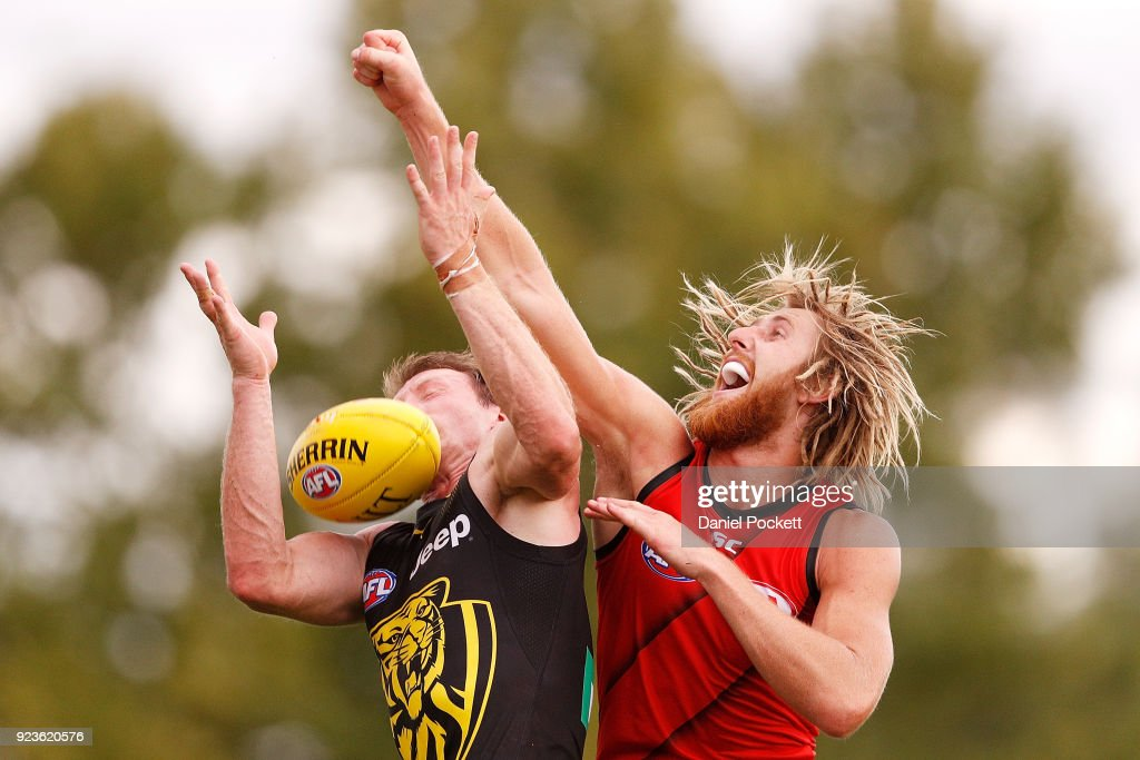 Dyson Heppell of the Bombers spoils the ball during the JLT Community Series AFL match between the Essendon Bombers and the Richmond Tigers at Norm Minns Oval on February 24, 2018 in Wangaratta, Australia.