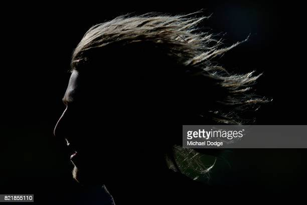 Dyson Heppell runs laps during an Essendon Bombers AFL media session at the Essendon Football CLub on July 25 2017 in Melbourne Australia