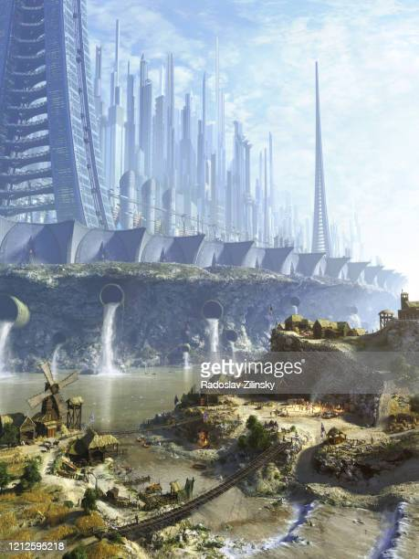 dystopian futuristic city meets indigeous simple village - science fiction film stock pictures, royalty-free photos & images