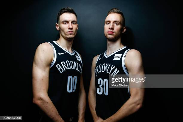 Dzanan Musa and Rodions Kurucs of the Brooklyn Nets poses for a portrait during Media Day at the HSS Training Facility on September 24 2018 in New...