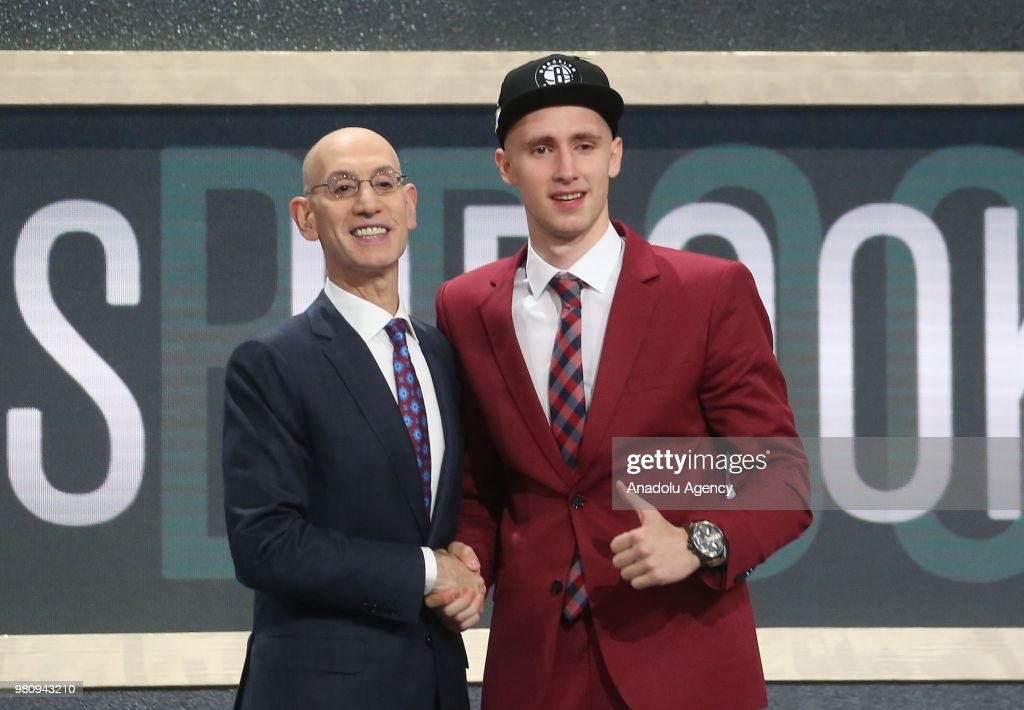 Dzanan Musa (R) is seen after being selected number twenty-ninth overall by Brooklyn Nets during the 2018 NBA Draft in Barclays Center in New York, United States on June 21, 2018.