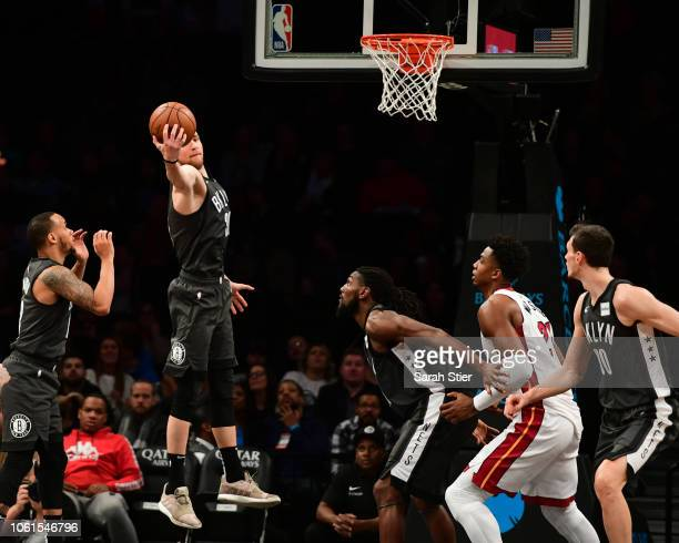 Dzanan Musa of the Brooklyn Nets catches the rebound in the fourth quarter during the game against Miami Heat at Barclays Center on November 14 2018...