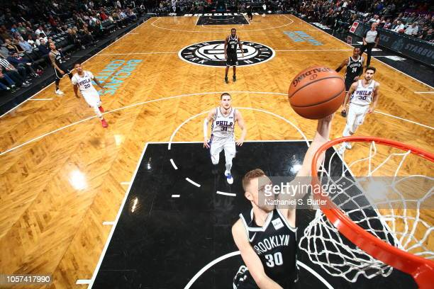 Dzanan Musa of the Brooklyn Nets dunks the ball against the Philadelphia 76ers on November 4 2018 at Barclays Center in Brooklyn New York NOTE TO...