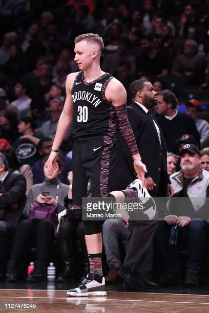 Dzanan Musa of the Brooklyn Nets during the game against the Milwaukee Bucks at Barclays Center on February 4 2019 in the Brooklyn borough of New...