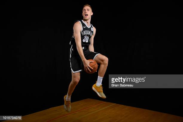 Dzanan Musa of the Brooklyn Nets poses for a portrait during the 2018 NBA Rookie Photo Shoot on August 12 2018 at the Madison Square Garden Training...