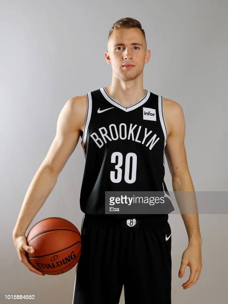 Dzanan Musa of the Brooklyn Nets poses for a portrait during the 2018 NBA Rookie Photo Shoot at MSG Training Center on August 12 2018 in Tarrytown...