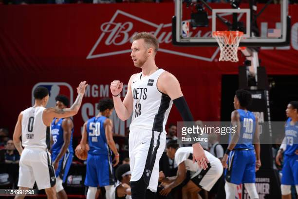 Dzanan Musa of the Brooklyn Nets reacts to a play during the game against the Orlando Magic on July 10 2019 at the Thomas Mack Center in Las Vegas...