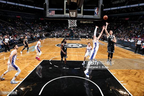 Dzanan Musa of the Brooklyn Nets shoots the ball against the Philadelphia 76ers on November 4 2018 at Barclays Center in Brooklyn New York NOTE TO...