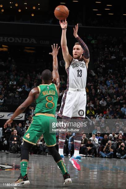 Dzanan Musa of the Brooklyn Nets shoots the ball against the Boston Celtics on November 29 2019 at Barclays Center in Brooklyn New York NOTE TO USER...