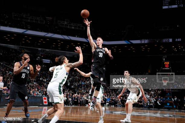 Dzanan Musa of the Brooklyn Nets shoots the ball against the Milwaukee Bucks on February 4 2019 at Barclays Center in Brooklyn New York NOTE TO USER...